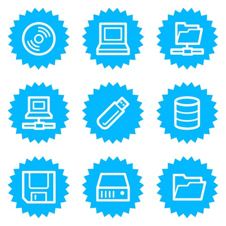 fdd: Drives and storage web icons, blue sticker series