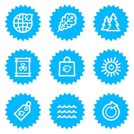 Ecology web icons set 3, blue sticker series Vector