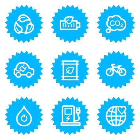 electro world: Ecology web icons set 4, blue sticker series Illustration
