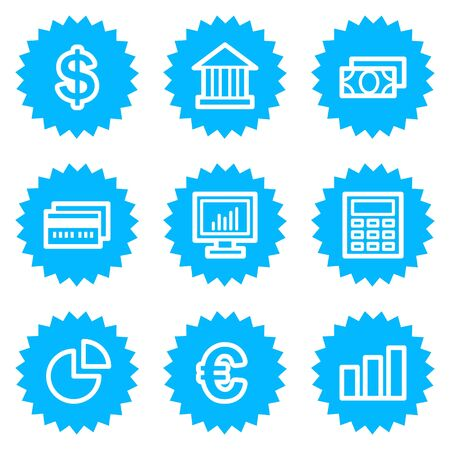 Finance web icons set 1, blue sticker series Stock Vector - 6872868