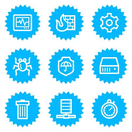 Internet security web icons, blue sticker series Stock Vector - 6872882