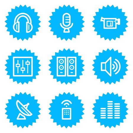 Media web icons, blue sticker series Stock Vector - 6872863