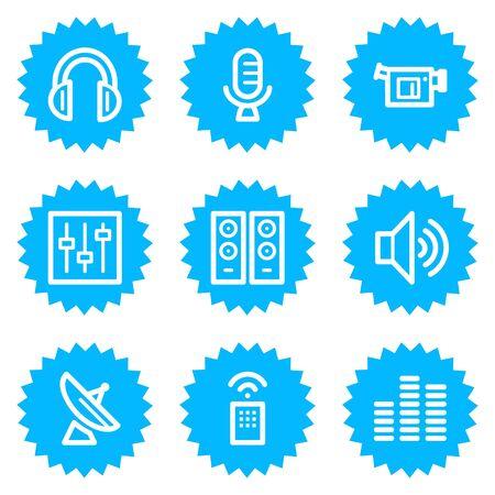 Media web icons, blue sticker series Stock Vector - 6872863