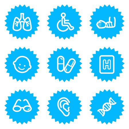 Medicine web icons set 2, blue sticker series Vector