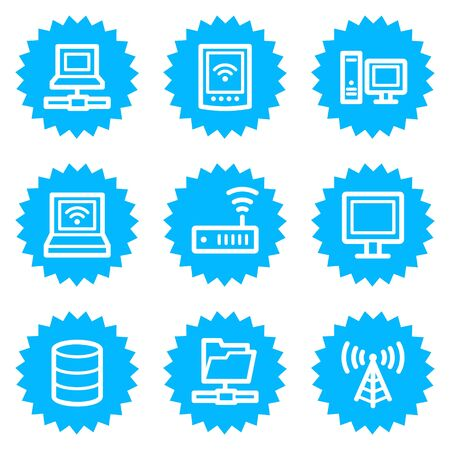 nettop: Network web icons, blue sticker series Illustration