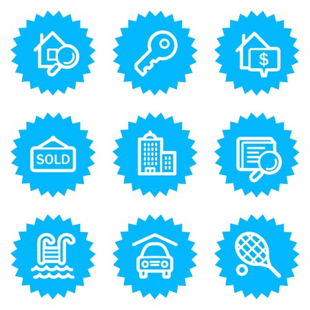 Real estate web icons, blue sticker series Stock Vector - 6872894