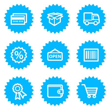 Shopping web icons set 2, blue sticker series Stock Vector - 6872869