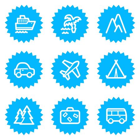 air liner: Travel web icons set 1, blue sticker series Illustration