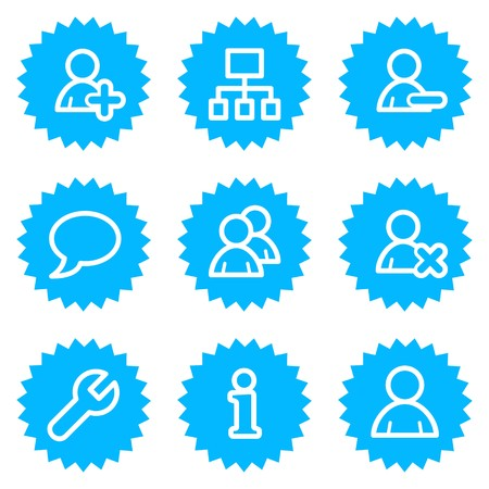 Users web icons, blue sticker series Stock Vector - 6872848