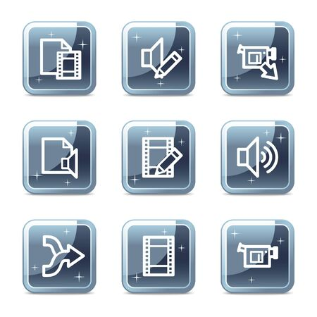 Audio video edit web icons, mineral square glossy buttons Vector