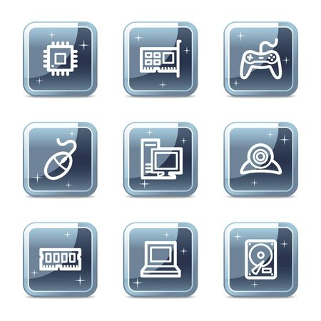 Computer web icons, mineral square glossy buttons Stock Vector - 6872955