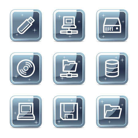 Drives and storage web icons, mineral square glossy buttons Illustration