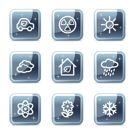 Ecology web icons set 2, mineral square glossy buttons Vector