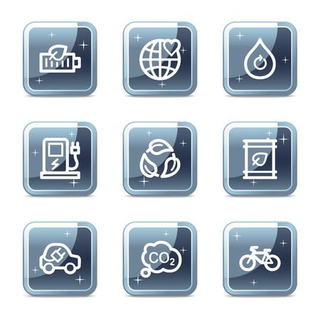 Ecology web icons set 4, mineral square glossy buttons Vector
