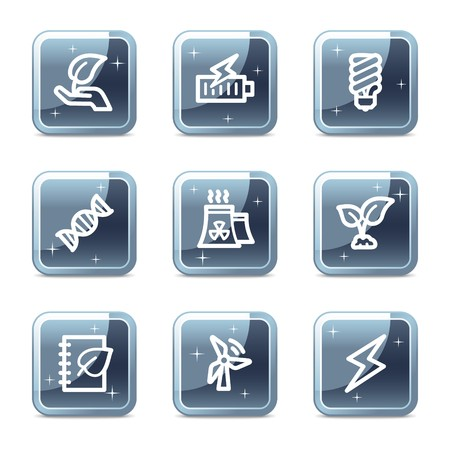 Ecology web icons set 5, mineral square glossy buttons Vector