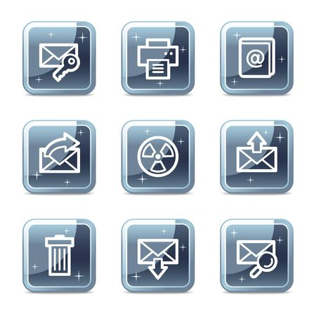 E-mail web icons set 2, mineral square glossy buttons Vector