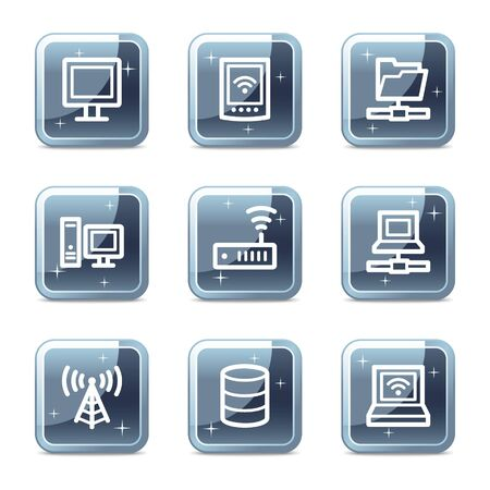 access point: Network web icons, mineral square glossy buttons
