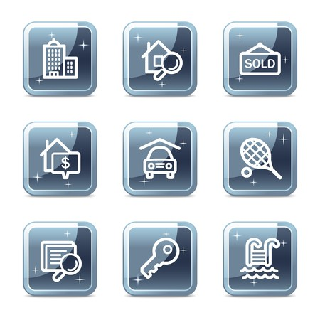 Real estate web icons, mineral square glossy buttons Stock Vector - 6872958