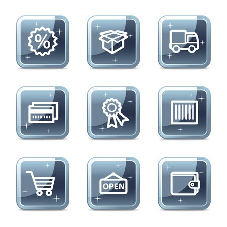 Shopping web icons set 2, mineral square glossy buttons Vector