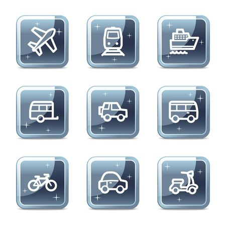 air liner: Transport web icons, mineral square glossy buttons
