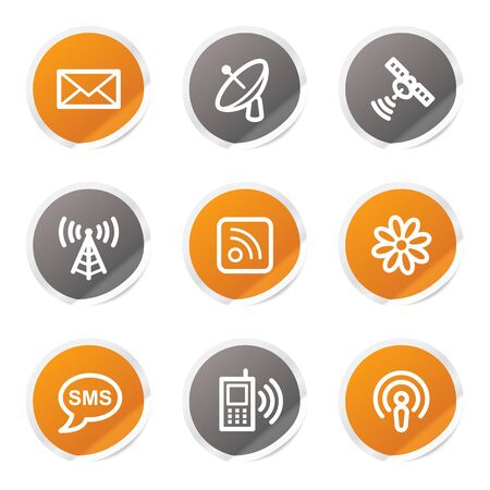 Communication web icons, orange and grey stickers Stock Vector - 6872918