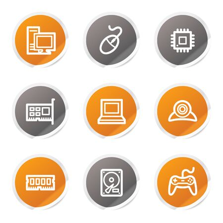 nettop: Computer web icons, orange and grey stickers Illustration