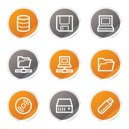 Drives and storage web icons, orange and grey stickers Stock Vector - 6872897