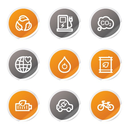 Ecology web icons set 4, orange and grey stickers Vector