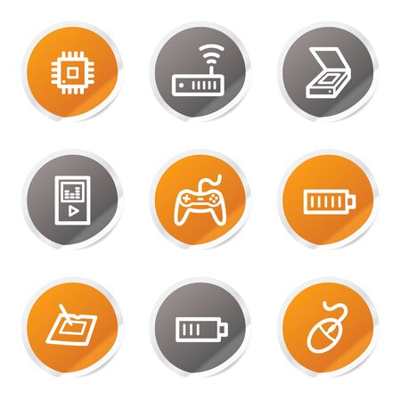wireless lan: Electronics web icons set 2, orange and grey stickers