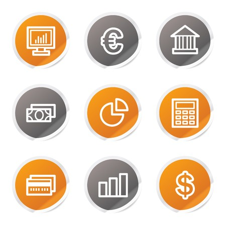 Finance web icons set 1, orange and grey stickers Stock Vector - 6872916
