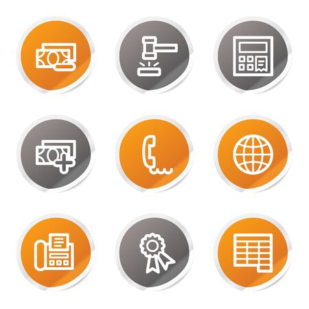 Finance web icons set 2, orange and grey stickers Stock Vector - 6872929