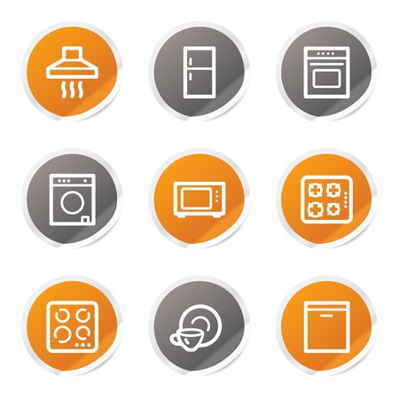 Home appliances web icons, orange and grey stickers Stock Vector - 6872921