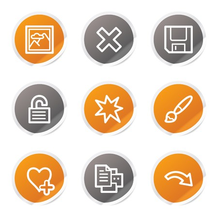 Image viewer web icons set 2, orange and grey stickers Stock Vector - 6872900