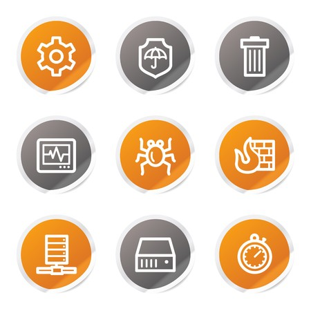 Internet security web icons, orange and grey stickers Stock Vector - 6872930