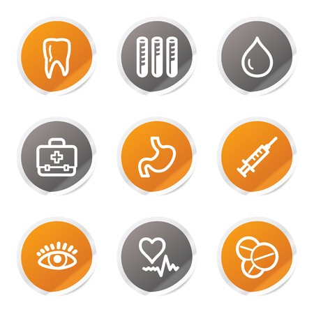 oculist: Medicine web icons set 1, orange and grey stickers