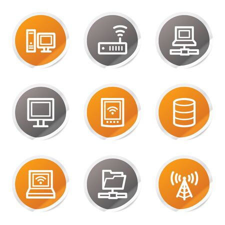nettop: Network web icons, orange and grey stickers Illustration