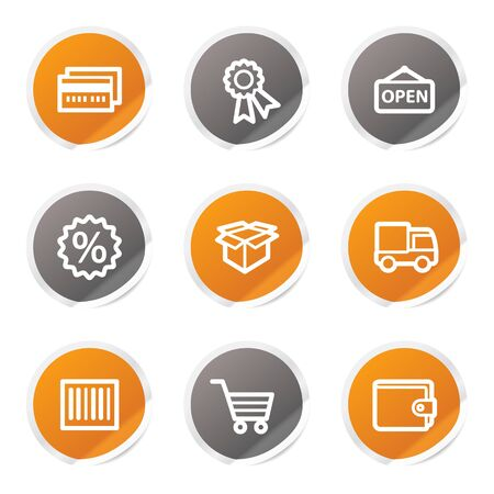 Shopping web icons set 2, orange and grey stickers Stock Vector - 6872917