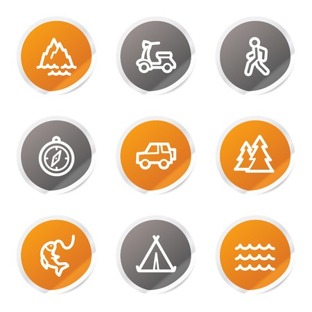 Travel web icons set 3, orange and grey stickers Stock Vector - 6872928