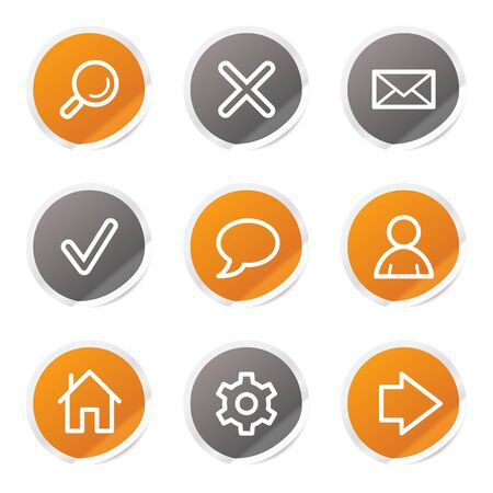 Basic web icons, orange and grey stickers Stock Vector - 6872891