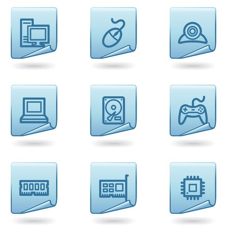 Computer icons, blue sticker series Stock Vector - 6931499