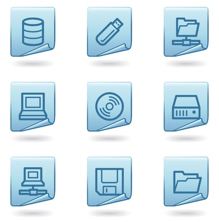 Drives and storage icons, blue sticker series