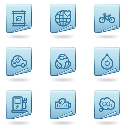 Ecology icons set 4, blue sticker series Vector