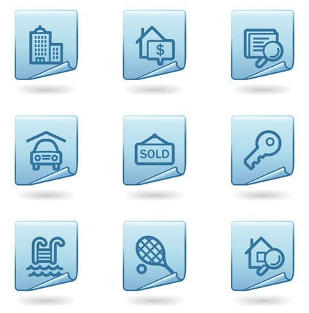 Real estate icons, blue sticker series Vector