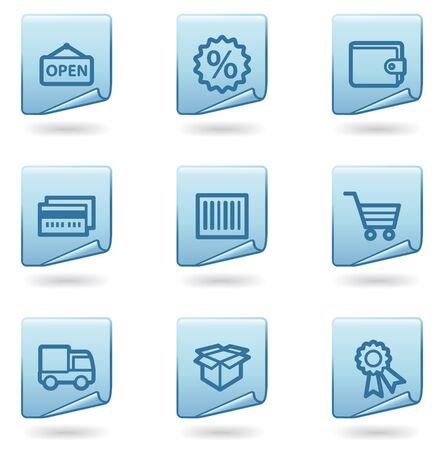 Shopping icons set 2, blue sticker series Stock Vector - 6931486