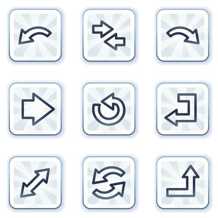back link: Arrows web icons set 1, white square buttons
