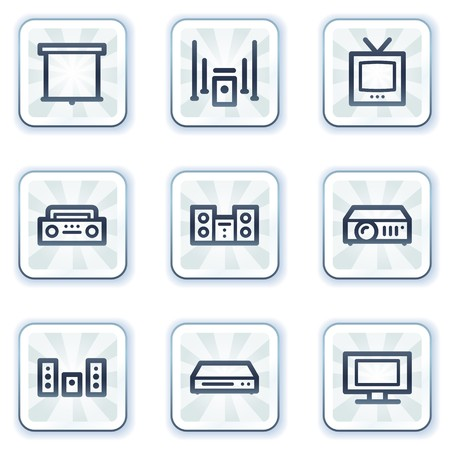 Audio video web icons, white square buttons Stock Vector - 6927437
