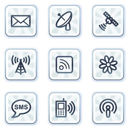 access point: Communication web icons, white square buttons Illustration
