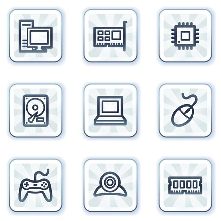 Computer web icons, white square buttons Stock Vector - 6931474