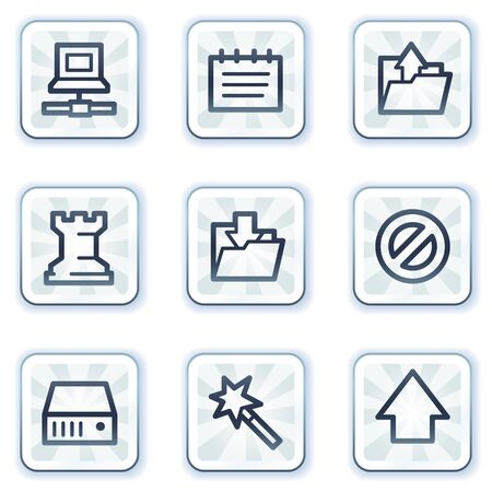 Data web icons, white square buttons Vector