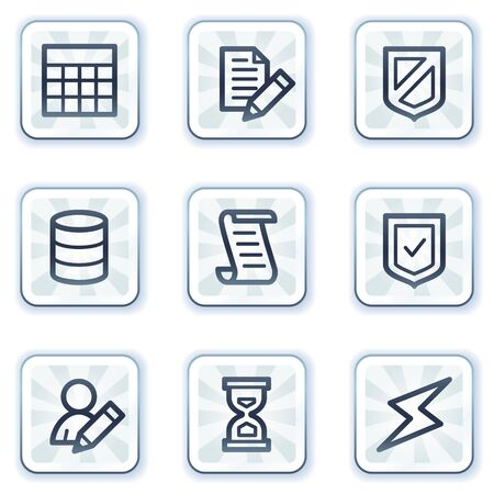 Database web icons,white square buttons Vector